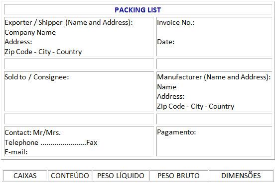 modello packing list da